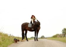 Equestrienne with dog on white background. Stock Photo