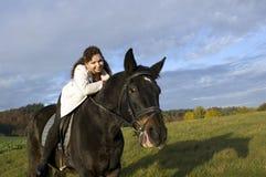 Equestrienne et cheval. Images libres de droits