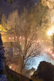 Equi Terme by night, magical in the fog. With lights. Lunigiana, Stock Photography