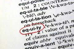 A equidade da palavra em um dicionário Imagens de Stock
