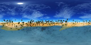 Equidistant projection, HDRI High resolution map. environment map, Panorama desert sunset in the desert, pyramid and palms, Stock Photos