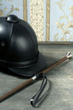 Equiestrian black leather hat still detail Stock Image