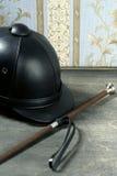 Equiestrian black leather hat still detail Stock Image