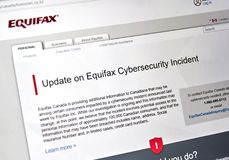 Equifax Canada home page. MONTREAL, CANADA - SEPTEMBER, 25 : Equifax Canada home page with information about cybersecurity incident. Equifax Inc. is a consumer stock images