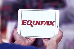 Equifax company logo. Logo of Equifax company on samsung tablet. Equifax is a consumer credit reporting agency. Equifax collects and aggregates information on Stock Image