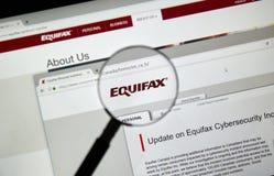 Equifax Kanada hemsida Arkivbild