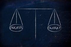 Equilíbrio do achado entre o orçamento atribuído e lucros desejados Imagem de Stock Royalty Free