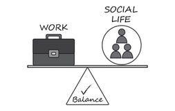 Equilíbrio entre o trabalho e o diagrama da vida social ilustração stock