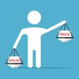 equilíbrio Homem-dado forma, valor, preço Foto de Stock