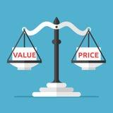 Equilíbrio, valor e preço ilustração stock