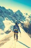 Equilíbrios alpinos do montanhista no snowfield do gelo Imagem de Stock
