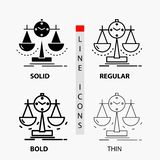Equilibrado, gestión, medida, tarjeta de puntuación, icono de la estrategia en línea y estilo finos, regulares, intrépidos del Gl ilustración del vector