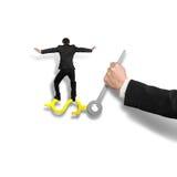 Equilibrando na mão de pulso de disparo de USD com terra arrendada da mão, no branco Foto de Stock Royalty Free