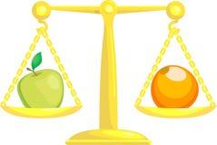 Equilibrando o confrontando le mele   illustrazione vettoriale