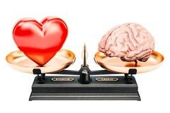 Equilibre o conceito, as escalas com coração e o cérebro, rendição 3D ilustração stock