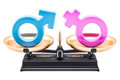 Equilibre o conceito, a igualdade dos homens e as mulheres rendição 3d ilustração royalty free