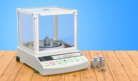 Equilibrio analitico, scala di laboratorio digitale con il peso stabilito di calibratura sulla tavola di legno rappresentazione 3 illustrazione di stock
