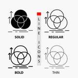 equilibrio, cerchio, allineamento, misura, icona della geometria nella linea e nello stile sottili, regolari, audaci di glifo Ill illustrazione vettoriale