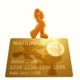 Equilibrio che cammina su una carta di credito Fotografia Stock Libera da Diritti