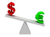 Equilibrio de los símbolos del euro y del dólar Fotografía de archivo libre de regalías