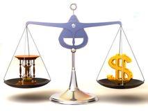 Equilibrio di tempo e di soldi Immagine Stock