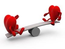 Equilibrio entre dos corazones ilustración del vector