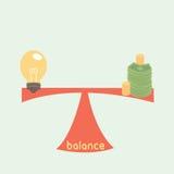 Equilibrio fra l'idea ed i soldi Fotografia Stock Libera da Diritti