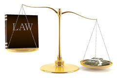 Equilibrio fra legge e soldi Immagini Stock