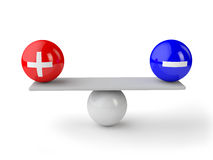 Equilibrio più e negativo Fotografia Stock