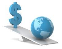 Equilibrio - terra e dollaro Fotografia Stock Libera da Diritti