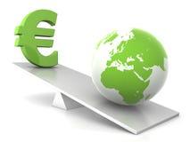Equilibrio - terra ed euro Fotografia Stock