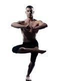 Equilibrio Vriksha-asana di yoga dell'uomo la posa dell'albero Fotografie Stock Libere da Diritti
