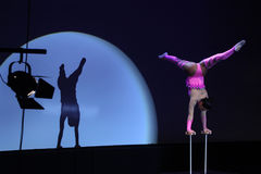 Equilibrist Anastasia performs with Russian Grand Circus Royalty Free Stock Images