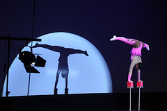Equilibrist Anastasia performs with Russian Grand Circus Royalty Free Stock Photos