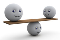 Equilibrium - 3d composition. With ball smiley symbol Stock Photos