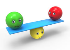 Equilibrium - 3d composition. With ball smiley symbol Royalty Free Stock Photo