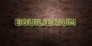 EQUILIBRIUM - fluorescent Neon tube Sign on brickwork - Front view - 3D rendered royalty free stock picture. Can be used for online banner ads and direct Stock Image