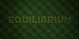 EQUILIBRIUM - fresh Grass letters with flowers and dandelions - 3D rendered royalty free stock image. Can be used for online banner ads and direct mailers Royalty Free Stock Photo