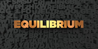 Equilibrium - Gold text on black background - 3D rendered royalty free stock picture. This image can be used for an online website banner ad or a print Royalty Free Stock Images