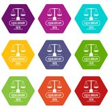 Equilibrium icons set 9 vector. Equilibrium icons 9 set coloful isolated on white for web Royalty Free Stock Photography