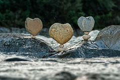 Equilibrium III Hearts. Balanced stones without any kind of glue or artificial help only gravity Stock Photo