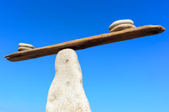 Equilibrium on narrow plank Royalty Free Stock Photography
