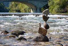 Equilibrium sunny day II. Balanced stones without any kind of glue or artificial help only gravity Stock Images