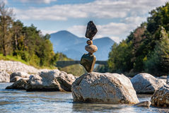 Equilibrium sunny day III. Balanced stones without any kind of glue or artificial help only gravity Stock Photos