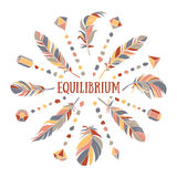 Equilibrium. Tender spring illustration with fabulous feathers and crystals stock illustration