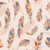 Equilibrium. Vector seamless pattern with feathers. Hand drawn illustration stock illustration