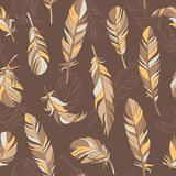 Equilibrium. Vector seamless pattern with feathers. Hand drawn illustration royalty free illustration