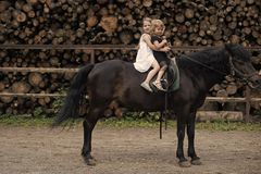 Equine therapy, recreation concept. Children sit in rider saddle on animal back. Sport, activity, entertainment. Friend, companion, friendship. Girls ride on stock photography
