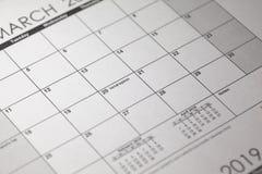 Equinoccio vernal 2019 Ciérrese para arriba del calendario del equinoccio vernal de la primavera del 20 de marzo, calendario imagenes de archivo