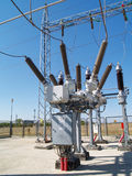 Высоковольтная электрическая подстанция Стоковые Фото